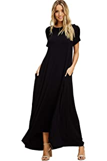 8e20a56204 Annabelle Women's Comfy Short Sleeve Loose Fit Round Neck Casual Maxi  Dresses Pockets