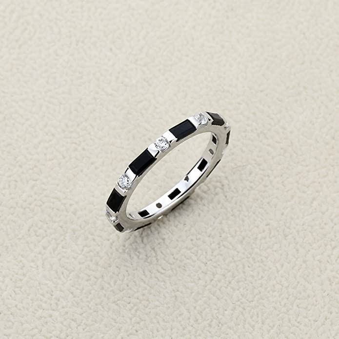 Princess Kylie Baguette Round Bar Set Cubic Zirconia Designer Ring Rhodium Plated Sterling Silver