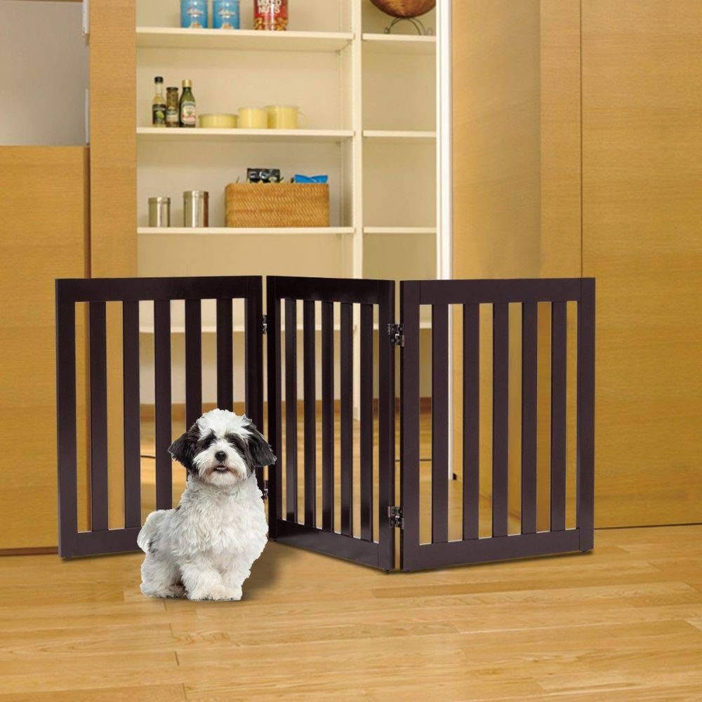 """24"""" Folding Standing 2/3 Panels Wood Pet Fence- Brown"""