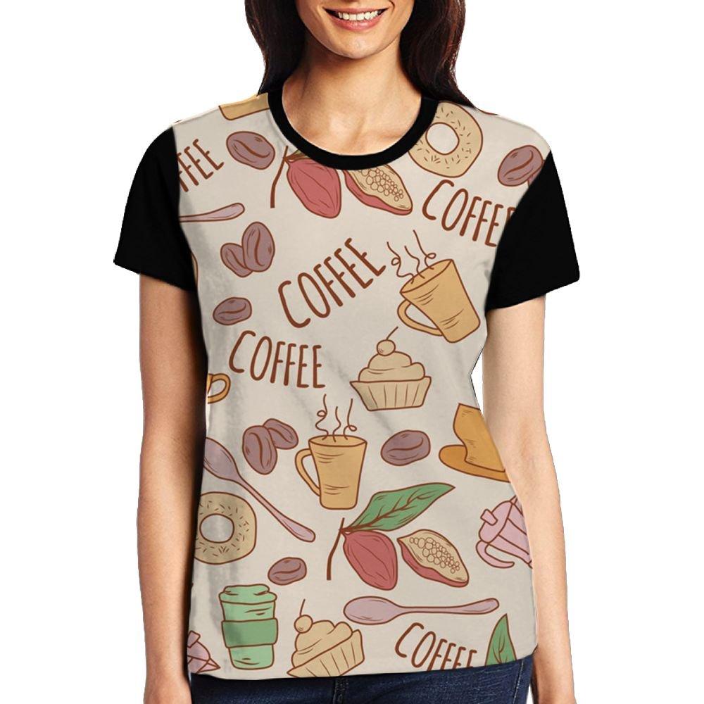 CKS DA WUQ Coffee Love Women's Raglan T-Shirt Round Neck Sport Baseball Tees Tops Undershirts by CKS DA WUQ
