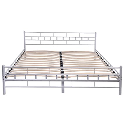 Amazon.com: Svitlife White Steel Bed Frame with Wood Slats and Grid ...