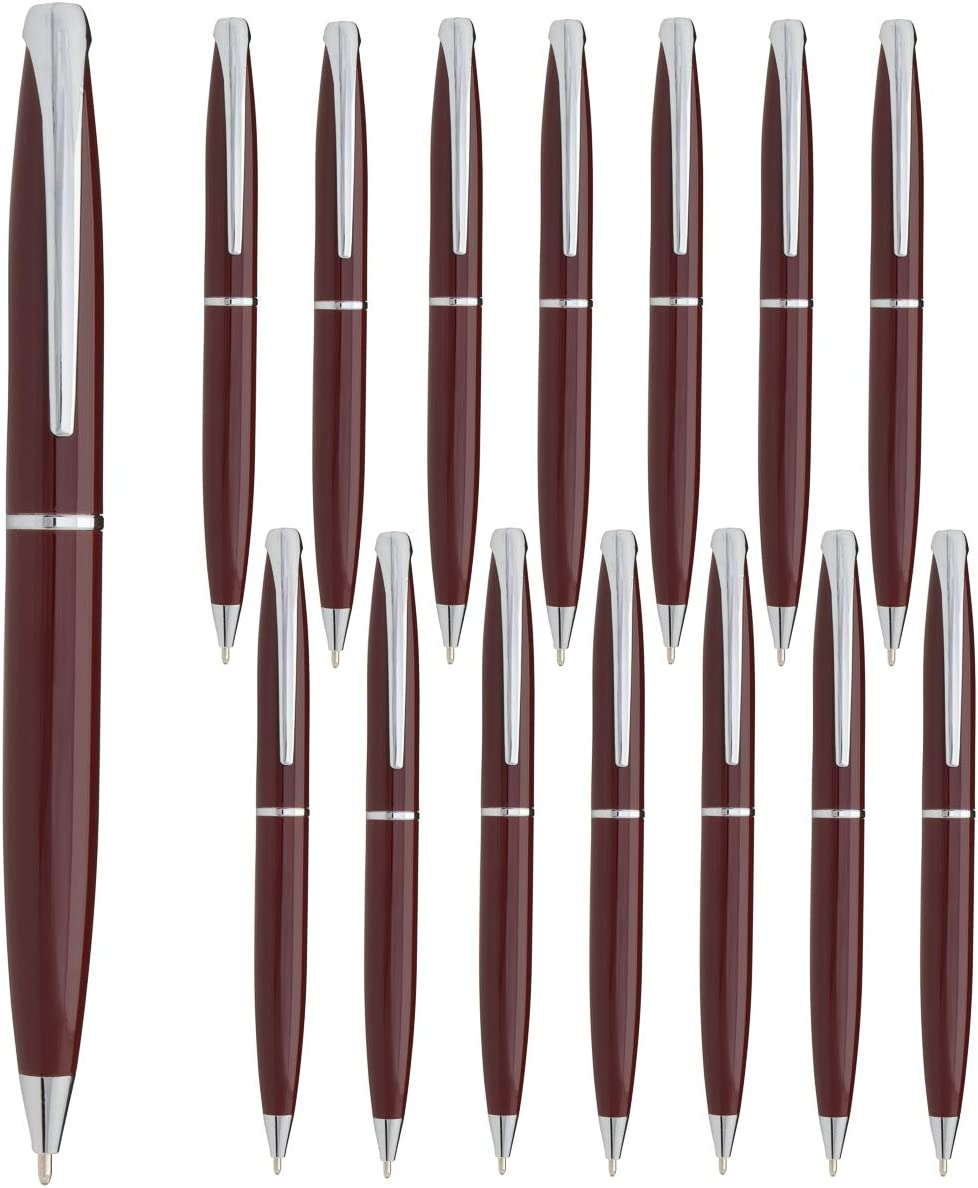 15 Pack Twist Pen Set: Ballpoint Pens Retractable Metal Pens Medium Point Maroon Pen Blue Ink for Office Supplies Estrella School Supplies