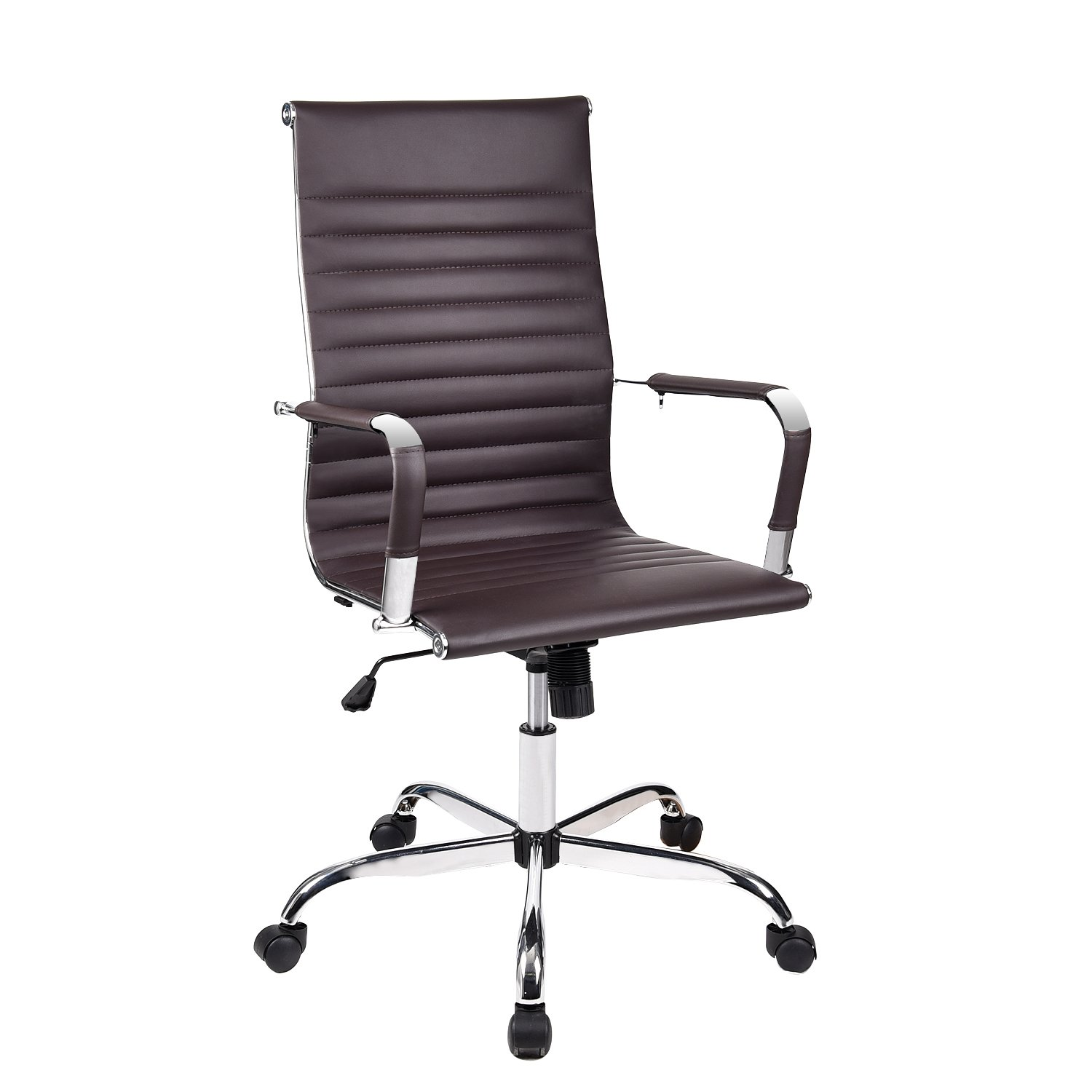 Elecwish Adjustable Office Executive Swivel Chair, High Back Padded, Tall Ribbed, PU Leather, wheels Arm Rest Computer, Chrome Base, Home Furniture, Conference Room Reception (Brown)