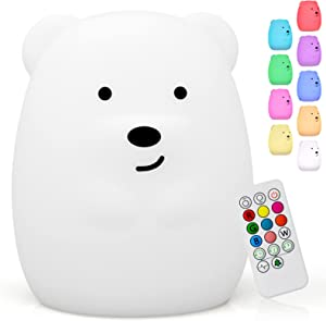 Cute Bear Kids Night Light, Silicone Rechargeable Nursery NightLights,Portable Changing Mode Multicolor Lamp Light Children Bedroom,Gifts for Women Toddler Baby Kawaii Room Decor