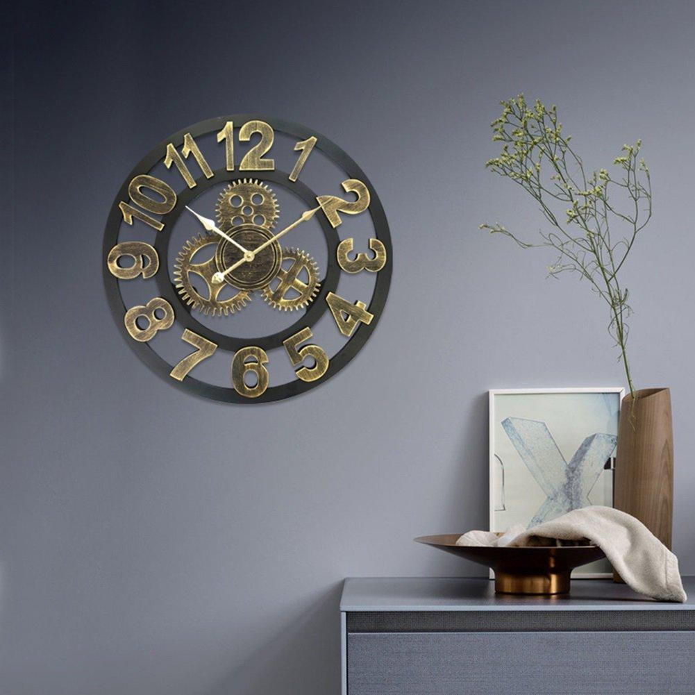 AODISHA ギアの壁時計、リビングルームの壁時計ホームバーフラワーショップカフェデコレーションレトロアイアンの壁時計の直径直径40-50CM より多くの装飾を取る (色 : B-50*50CM) B07DZWTTL5 B-50*50CM B-50*50CM