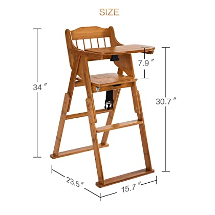 70f488d86ae27 ELENKER Wood Baby High Chair with Tray. Adjustable and Foldable High Chair  for Babies and ...