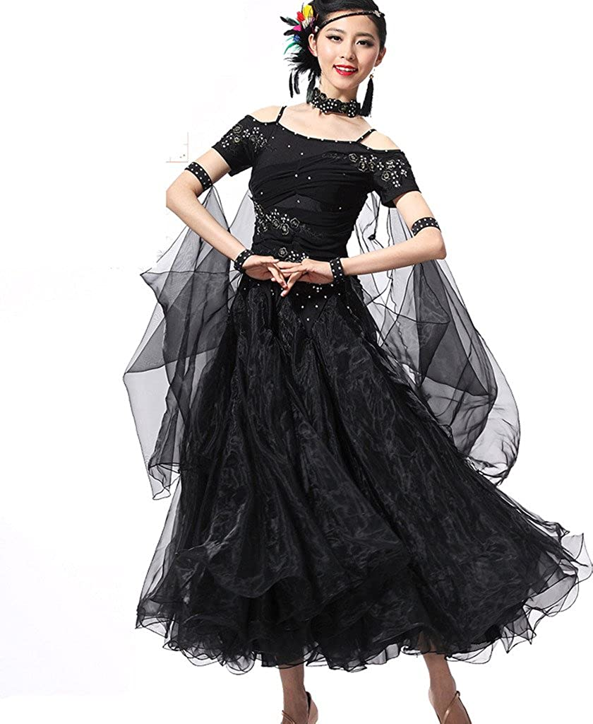 YC WELL Women Modern Waltz Tango Smooth Ballroom Dance Dress Short Sleeve Standard Ballroom Dress for Performance