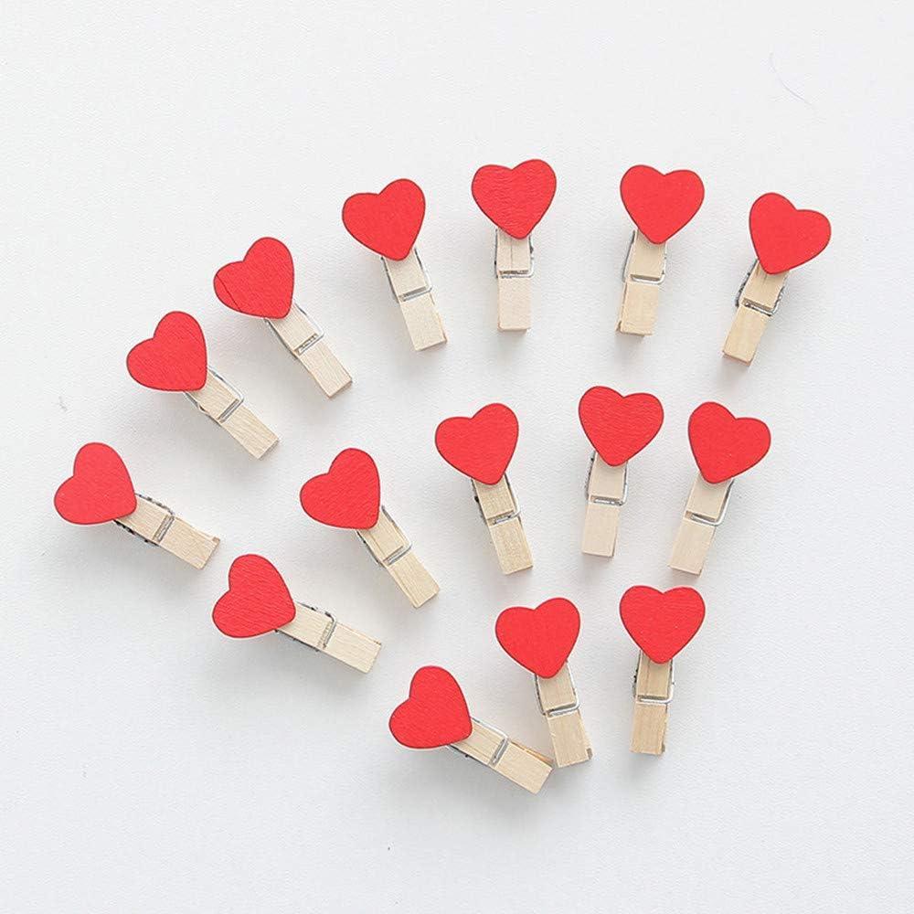 Ogquaton 50 pezzi 3,8 cm cuore rosso pioli di legno mollette mollette mini mollette foto carta piolo perno durevole e utile