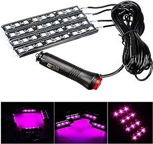 4pcs Car Interior Decoration, NERLMIAY Atmosphere Light-LED Car Interior Lighting Kit , Waterproof, Interior Atmosphere Neon Lights Strip for Car (pink)