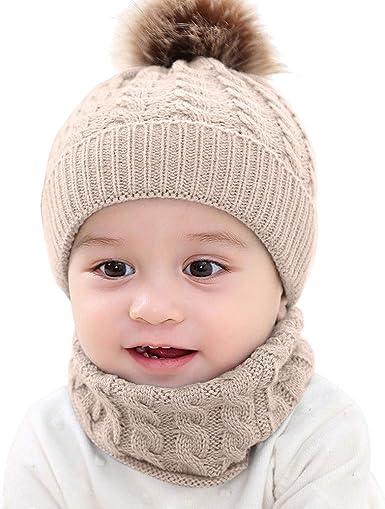 ROSEBEAR Baby Knitted Hat Scarf Set Beanie Cap Neckerchief Neck Girl Knitted Cap Lovely Pompom Kids Beanie Hat.