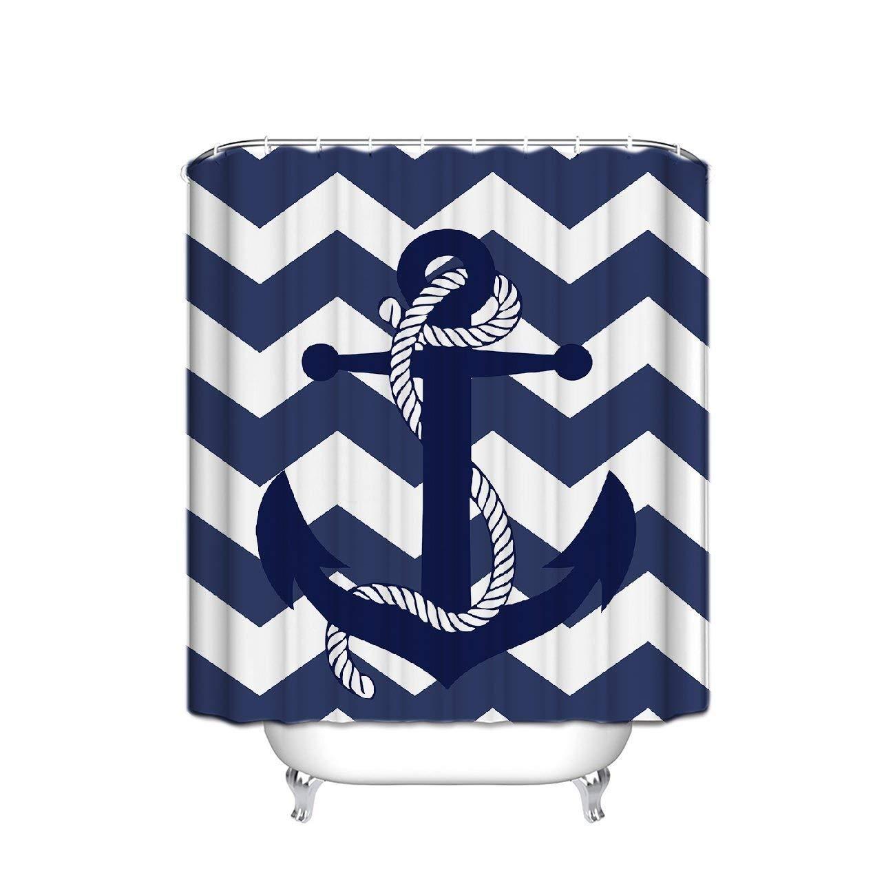 Machine Washable,Hooks Included,Bathroom Decoration Original Design Elegance Chevron Pattern Zig Zag 72 W x 84 H T/&H Home Elepant Shower Curtain Fabric Art Print Polyester Fabric,Waterproof