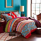 COMFORTEX Boho Bedding Set Queen Size Bohemian Duvet Cover Sets 3-Piece With Additional Flat Sheet Thick Sanded Cotton Excellent Feeling Soft and Comfortable 1 Duvet Cover 2 Pillow Shams