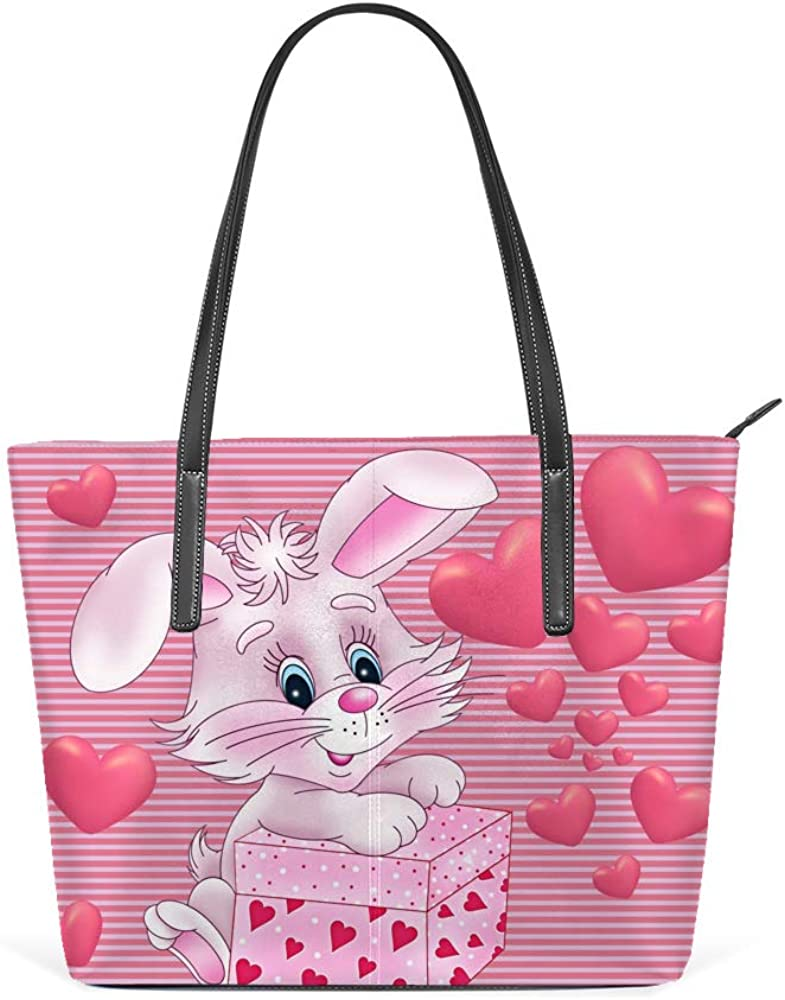 Kuizee Shoulder Tote Bags Love Rabbit Romance Handbags Printing PU Leather Decoration For Women Casual School Shopping 15.7In