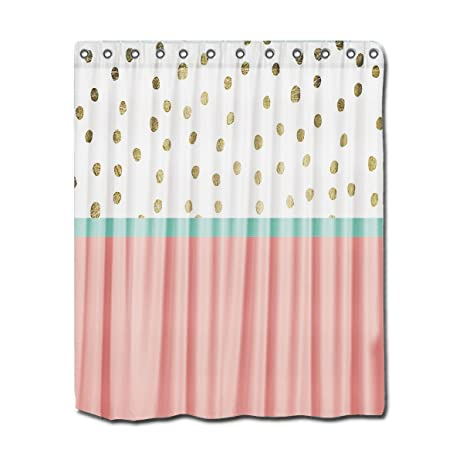 YYT Shower Curtains Coral Teal Color Block Gold Foil Polka Dots Curtain