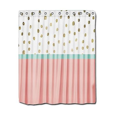 Amazon.com: YYT Shower Curtains Coral Teal Color Block Gold Foil ...