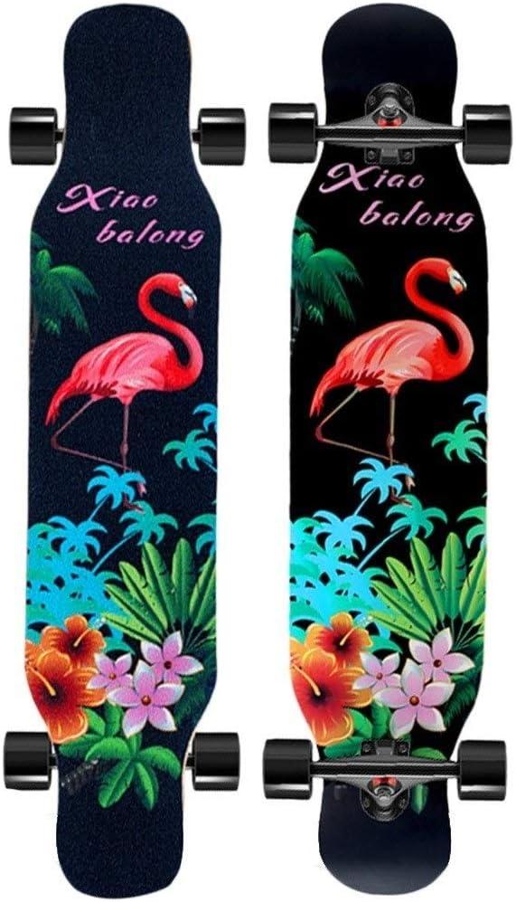 スケートボード スケートボードプロロングボード四輪スケートボード大人子供初心者スケートボードフリースタイルスクーター旅行ツールギフト (Color : 黒, Size : 107*25*12cm) 黒 107*25*12cm