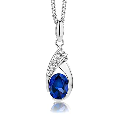 ByJoy Necklace for Women Sterling Silver pendant Blue Sapphire 45 cm chain 925 Silver HYtWPSRkYe