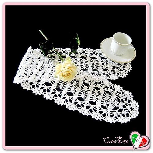 Rechteckig Weiß Häkeln Deckchen Aus Baumwolle Größe 68 Cm X 12 Cm