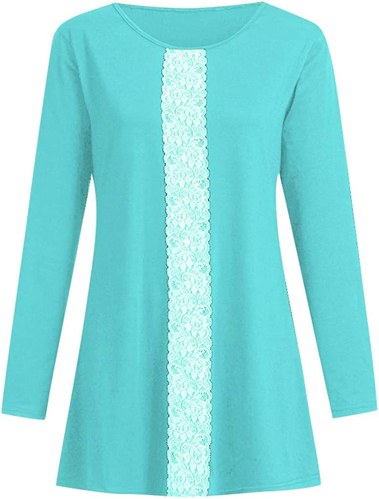 Long/Sleeve/Crop/Top Women Casual O-Neck Loose Lace Patchwork Tops Tunic Blouse