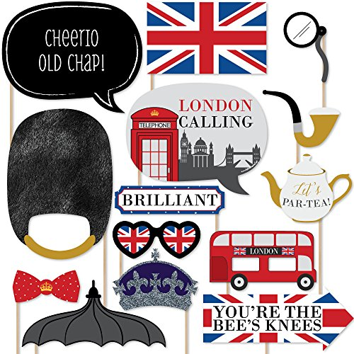 Big Dot of Happiness London - British Photo Booth Props Kit - 20 Count -