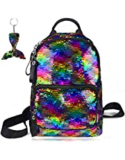 """Reversible Sequin Backpack Rainbow Magic Glitter Fashion School Bag Sparkly Fish Scale Flip Fun Pattern Lightweight Young Adult Women Girls and Boys 17"""" 12¼"""" 4¾"""""""
