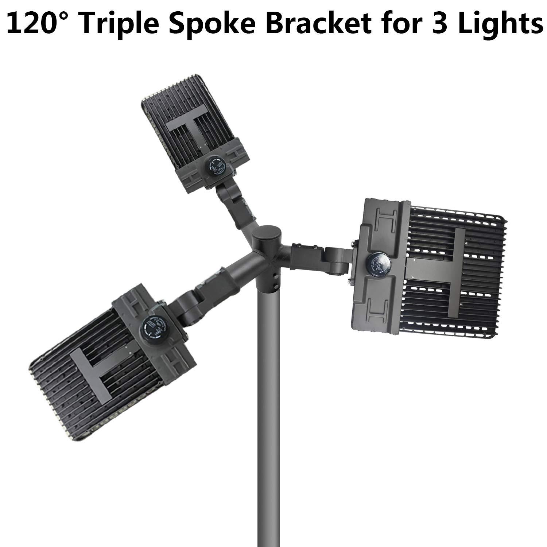 Flood Light Available for 2.5 inch Round Pole Triple Spoke Bracket for 2-3//8 inch Slip Fitter Light for LED Shoebox Pole Light 1000LED Triple 120 Degree Horizontal Tenon Adapter