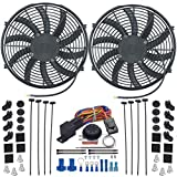 "American Volt Dual 14"" Inch Electric Radiator Fan-s Adjustable Thermostat Control Switch Kit"