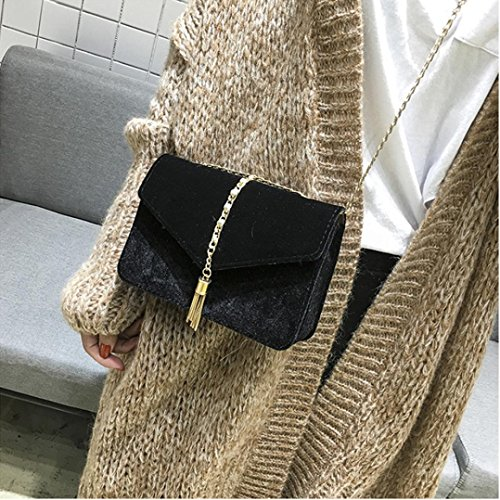 Hombro La Mujer Bolsas Bandolera Negro Moda Borla De Terciopelo LHWY Bolso xa8UqHw1a