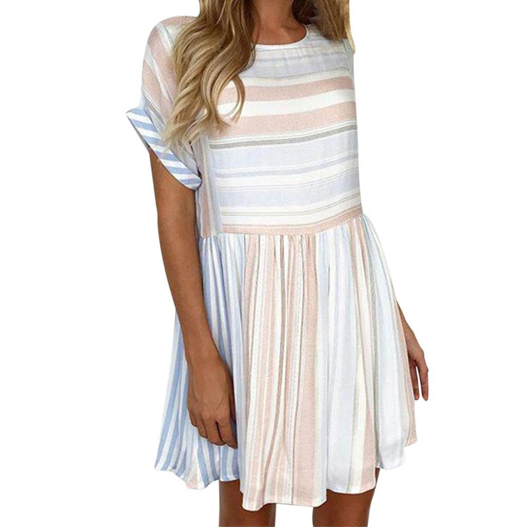 Nikuya Women Sexy Stripe Printing Short Sleeve Mini Dress Princess Dress (XL, Pink)