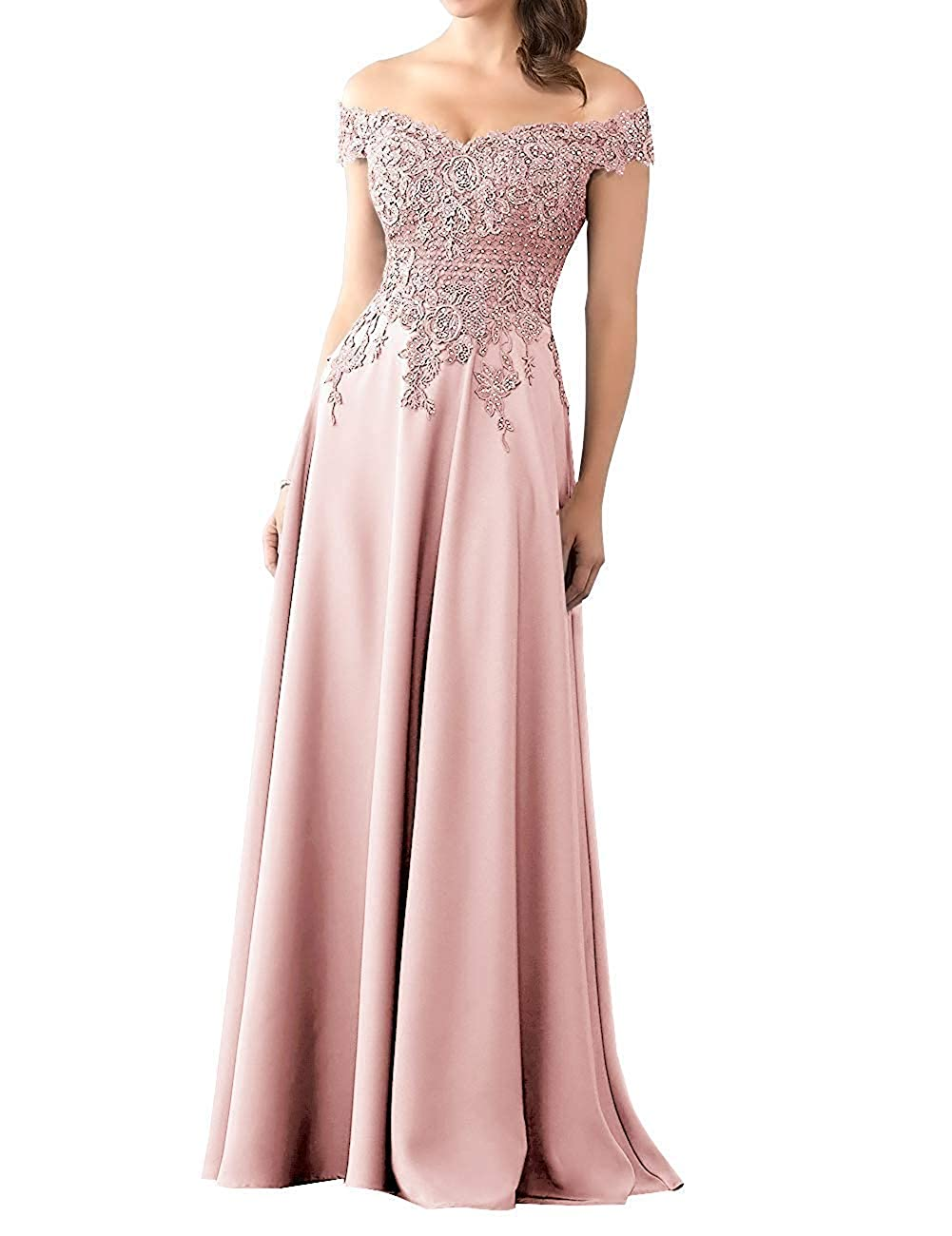 bluesh Mother of The Bride Dress with Sleeve Off Shoulder Long Beaded Mother Dresses Evening Gowns