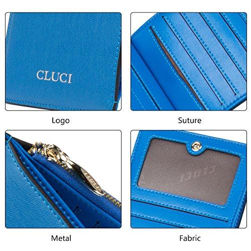 CLUCI Damen Leder Portmonee Portemonnaie Clutch Geldbeutel Handtasche Kartenhalter Blau 5-blau