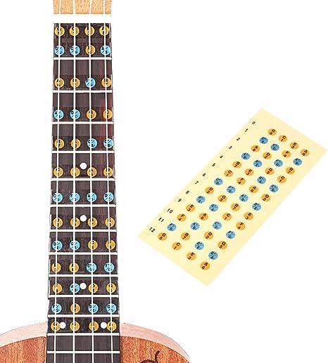 Adhesivo para ukelele con guía de dedo, guía de diapasón, marcador de diapasón, gráfico de dedos para principiantes: Amazon.es: Instrumentos musicales
