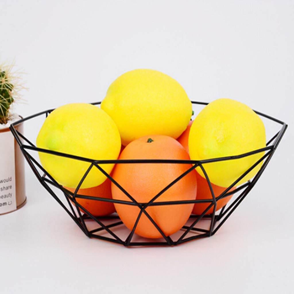 Sttech1 Geometric Fruit Vegetable Wire Basket Metal Bowl Kitchen Storage Desktop Display 10.24x10.63x3.15inch Fruit Bowl Basket