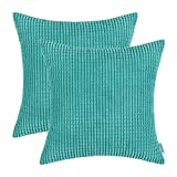 Pack of 2, CaliTime Throw Pillow Covers Cases for Couch Sofa Bed, Comfortable Supersoft Corduroy Corn Striped Both Sides, 18 X 18 Inches, Turquoise