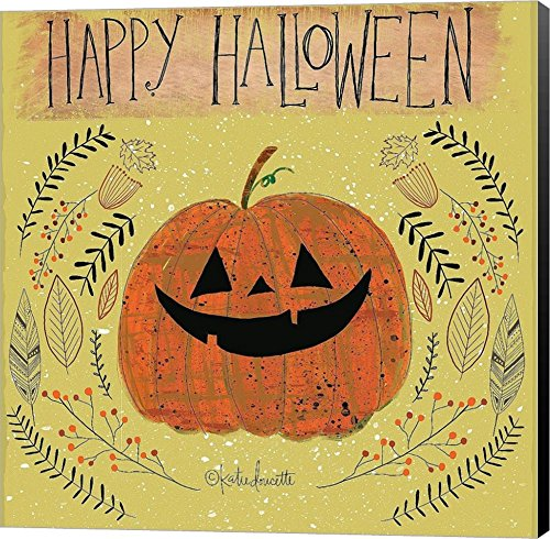 Happy Halloween by Katie Doucette Canvas Art Wall Picture, Museum Wrapped with Black