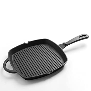 LLW-Frying Pans Sartenes para Sartén Hierro Fundido Bistec con Sartén De Rayas Cocina Antiadherente Universal Fried Steak Special Pot Sartén 26cm: ...