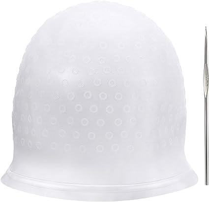Gorra de Seleccionar de Silicona Gorra de Cabello de Seleccionar Reutilizable Gorro de Tinte de Colorante de Peluquería para Mujeres Niñas Cabello ...