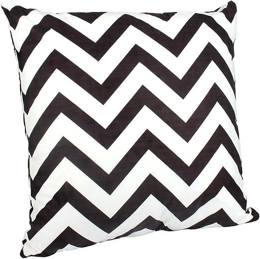 BIGBOBA Funda algodón sofá Almohada de Rayas en Blanco y Negro Suave Decorativo Sofá Almohada Funda de cojín 45 * 45 cm, algodón, Negro y Blanco, 50 * 50cm: Amazon.es: Hogar