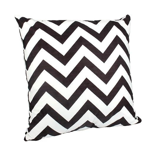 Outflower Funda de cojín, diseño de zig zag blanco y negro para dormitorio, salón, oficina, coche, sofá (50 x 50 cm), Large, 50 x 50 cm
