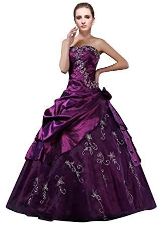 0b80dbdbbf6 DLFashion Strapless A-line Embroidered Taffeta Prom Dress S-4 Purple
