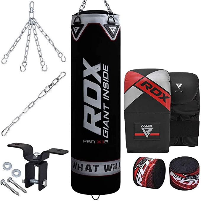 Muay Thai Karate Chain Comes in 4ft//5ft BJJ /& Taekwondo Kickboxing Wall Bracket,MMA,Great for Grappling RDX 17PC Punch Bag for Boxing Training,Filled Heavy Bag Set with Punching Gloves