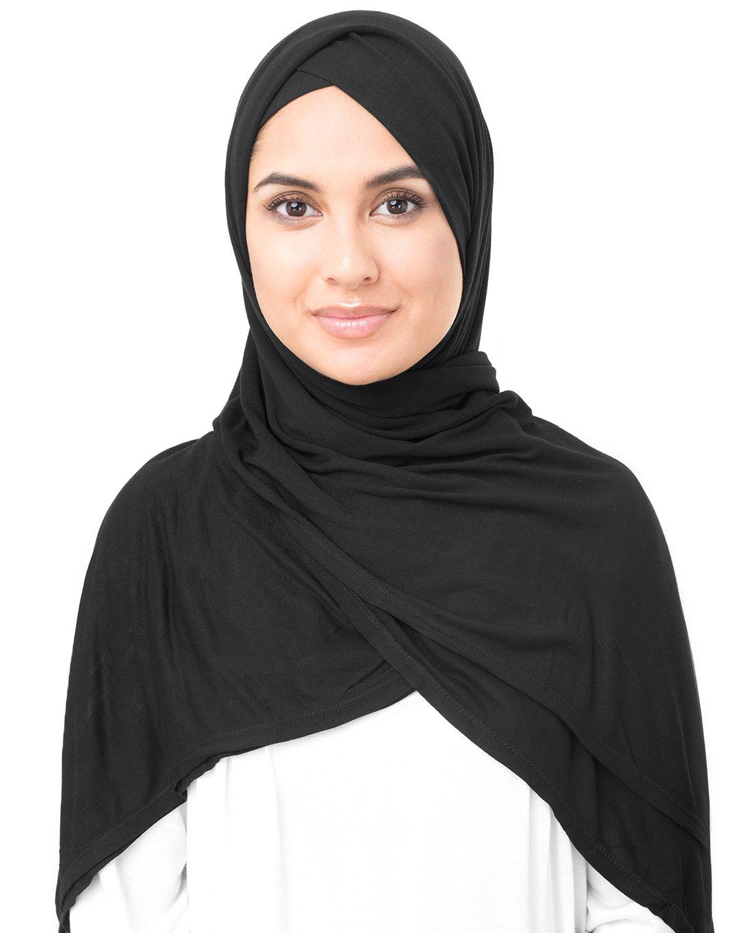 InEssence Jet Black Viscose Jersey Scarf Women Girls Wrap Medium Size Hijab