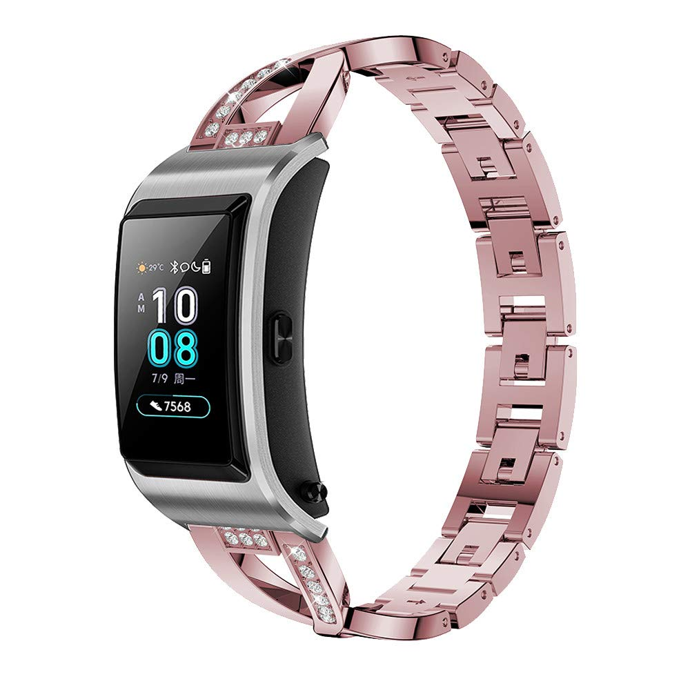 for Huawei B5 Smart Watch Wrist Straps,Accessory Replacement Metal Crystal Watch Strap Wrist Band for Huawei B5 Smart Watch (Free, Pink)