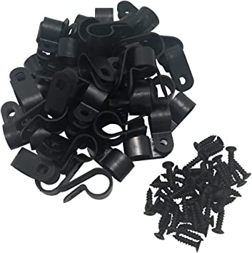 Nylon Screw Mounting Hicarer 50 Pack 1// 2 Inch R-type Cable Clip Wire Clamp