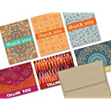 Global Inspired Thank You - 36 Thank You Cards for $12.99 - 6 Designs - Blank Cards - Kraft Envelopes Included