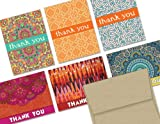 Global Inspired Thank You - 36 Thank You Cards - 6 Designs - Blank Cards - Kraft Envelopes Included