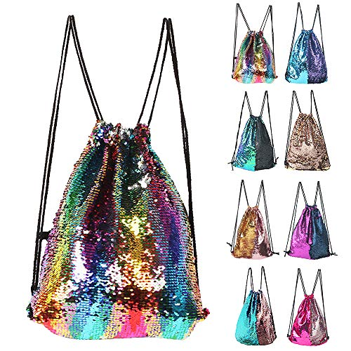 Winmany Mermaid Sequin Backpack Glittering Outdoor Shoulder Bag, Magic Reversible Glitter Drawstring Backpack, Fashion Bling Shining Dance Bag, Sports Backpack Bag (colorful) - Junior Drawstring Backpack