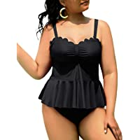 Yonique Plus Size Tankini Swimsuits for Women High Waisted Tummy Control Scalloped Bathing Suits 2 Piece Peplum Swimwear