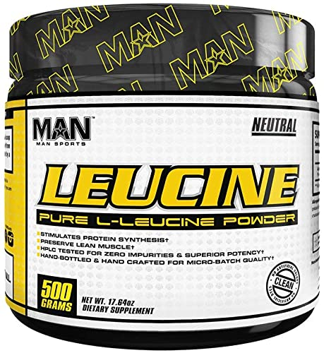 Man Sports Leucine. Pure L Leucine Powder. Unflavored Muscle Recovery Drink to Stimulate Protein Synthesis and Preserve Lean Muscle 100 Serving