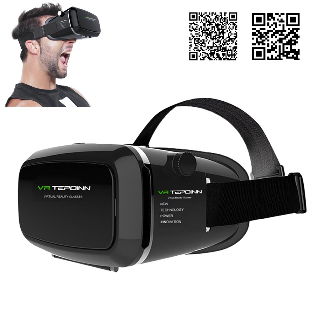 Tepoinn 3D Virtual Reality Headset for Smartphone Up to 6 Inch, Upgraded Version by tepoinn